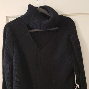 Coolest open neck sweater.